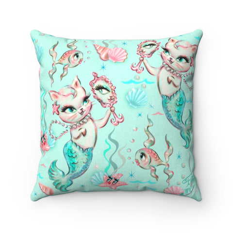Merkittens with Pearls Aqua • Faux Suede Pillow