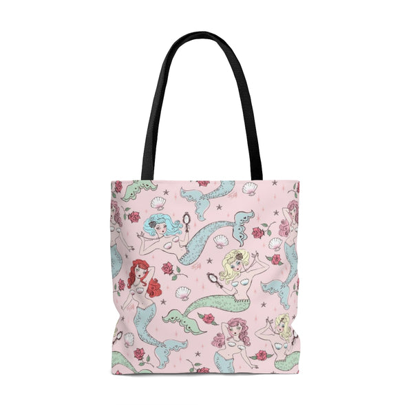 Mermaids and Roses on Pink • Tote Bag