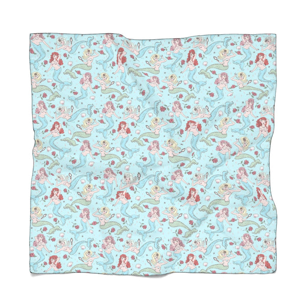 Mermaids and Roses Aqua • Scarf