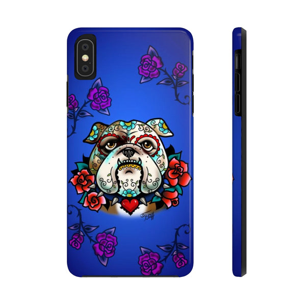 Sugar Skull Bulldog With Roses • Phone Case