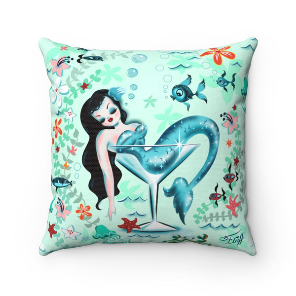 Tipsy Mermaid • Square Pillow