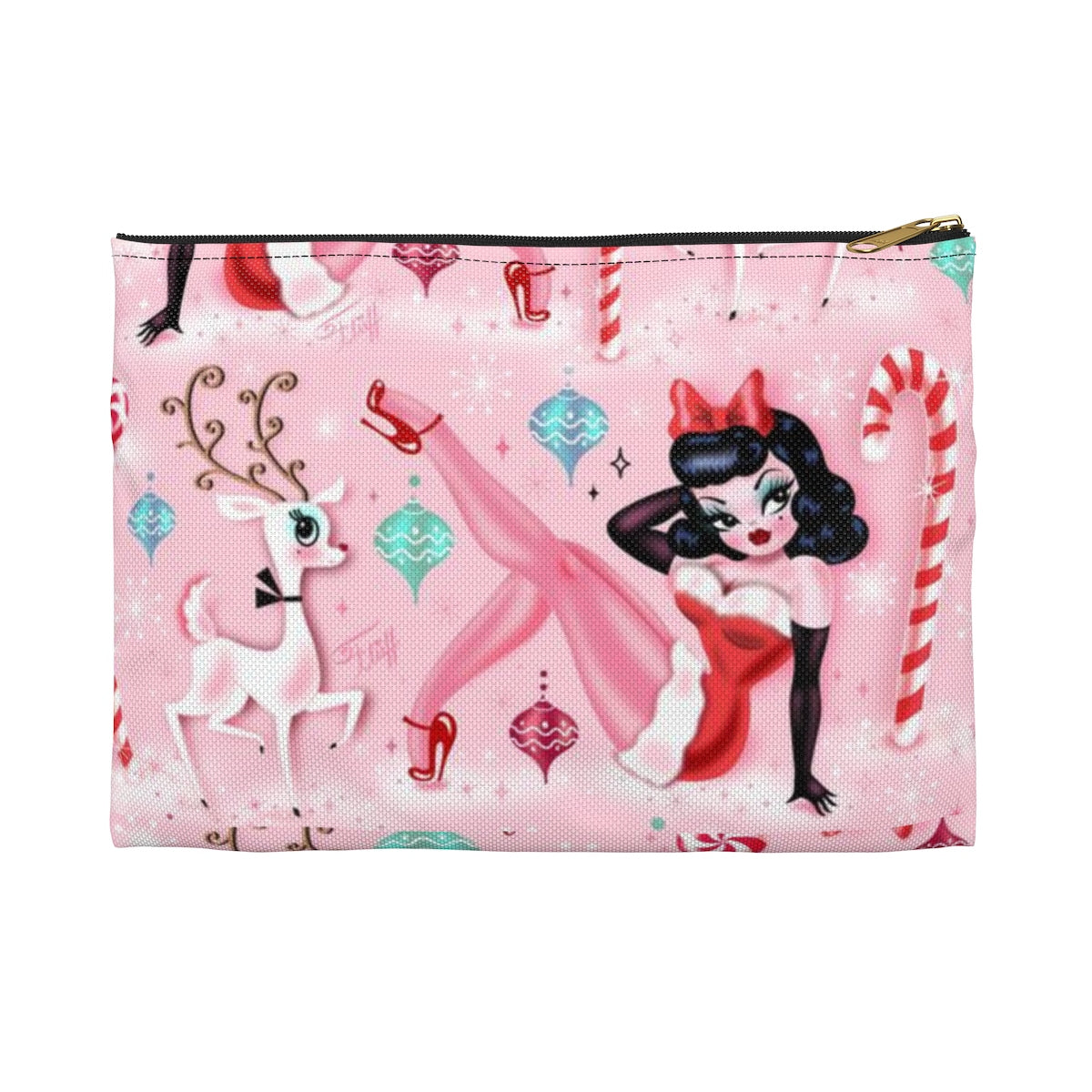 Christmas Pinup Girl • Carry All Pouch - Flat