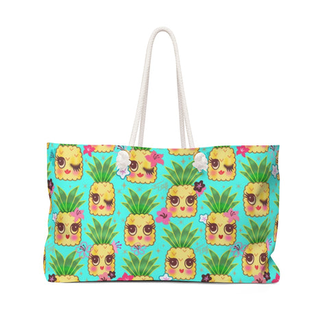 Happy Kawaii Cute Pineapples on Aqua • Weekender Bag