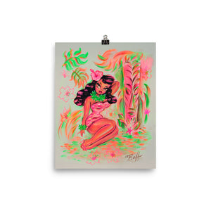 Island Maiden with Pink Tiki • Art Print