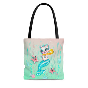 Merkitten with Lei and Starfish • Tote Bag