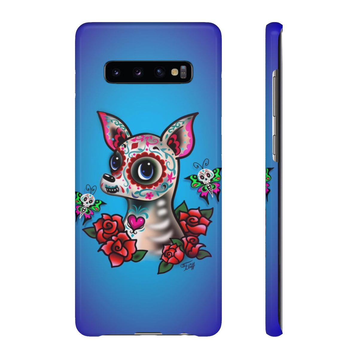 Sugar Skull Chihuahua Blue • Samsung Galaxy Phone Case