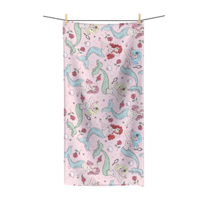 Mermaids and Roses on Pink • Towel