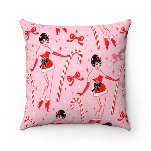 Candy Cane Girl • Faux Suede Pillow