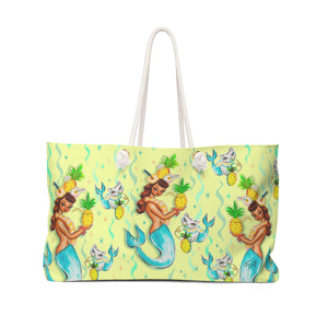 Tropical Pineapple Mermaid with Merkitties  • Weekender Bag