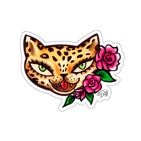Lady Leopard Kitty Tattoo • Kiss-Cut Sticker