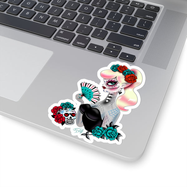 Blonde Sugar Skull Girl • Kiss-Cut Sticker