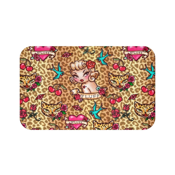 Lady Leopard Tattoo Flash • Bath Mat