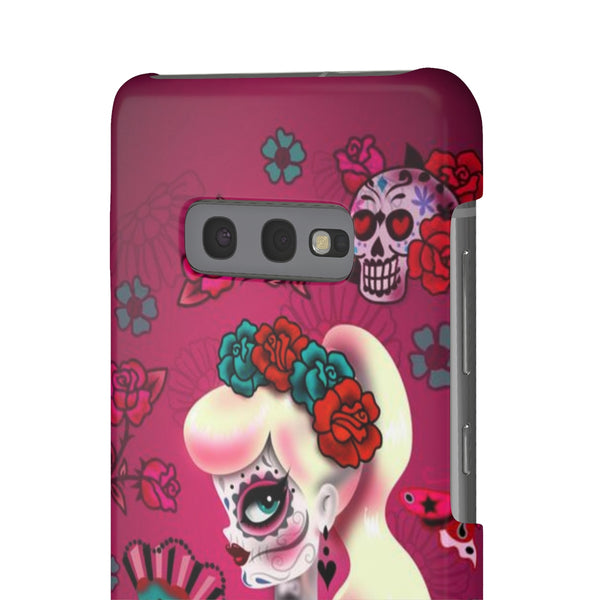Blonde Sugar Skull Pinup Girl • Samsung Galaxy Phone Case