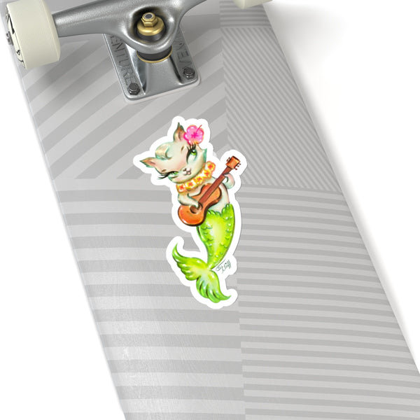 Mermaid Cat with Ukulele • Kiss-Cut Sticker