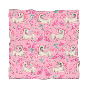 Unicorns and Roses on Pink • Chiffon Scarf