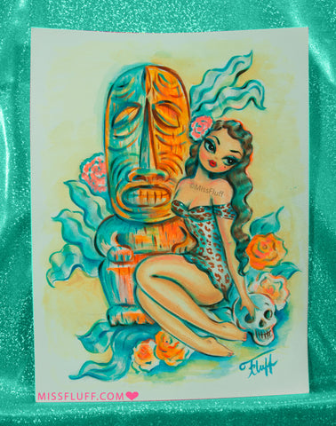 Island Maiden with Tiki and Skull - Original Drawing 9x12