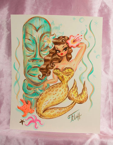 Leopard Mermaid with Teal Tiki - Original Drawing 11x14