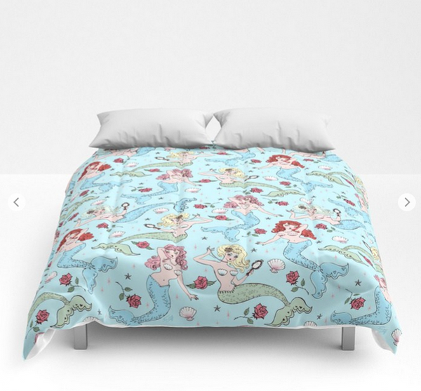 Mermaids and Roses on Aqua • Comforter