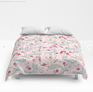 Mermaids and Roses on Pink • Comforter