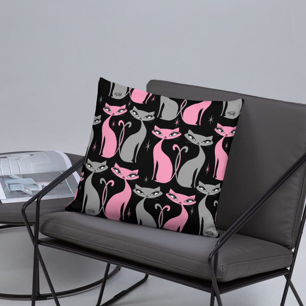 Mod Love Cats • Throw Pillow