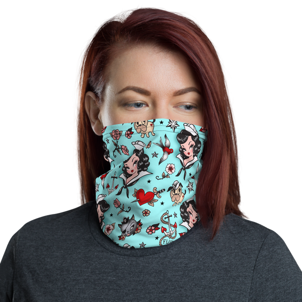 Suzy Sailor on Blue • Neck Gaiter Face Mask