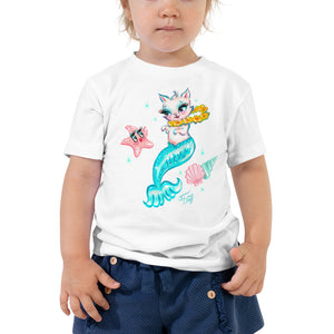 Merkitten with Lei and Starfish • Toddler Short Sleeve Tee