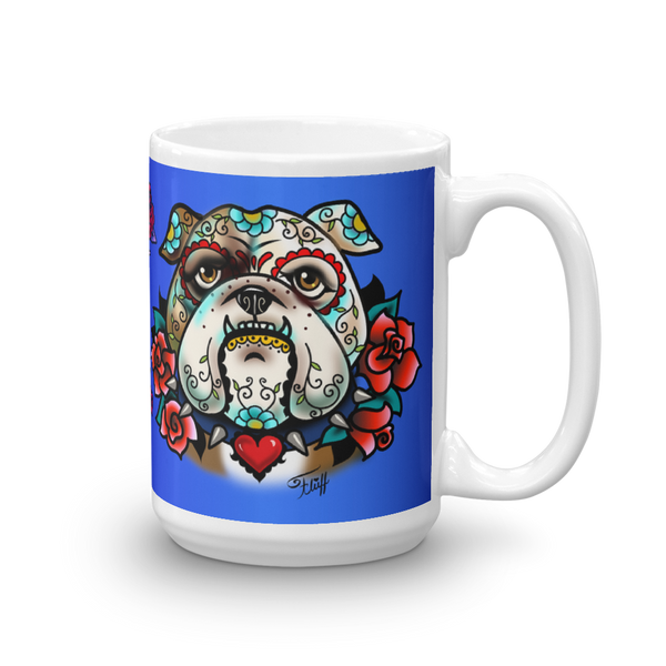 Sugar Skull Bulldog With Roses • Mug