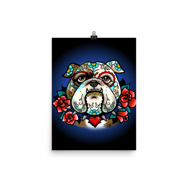 Sugar Skull Bulldog With Roses • Art Print