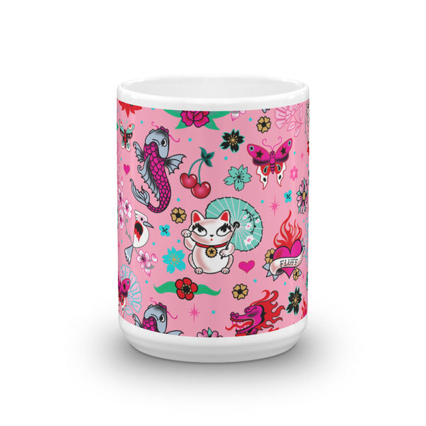 Lucky Kitty on Pink • Mug