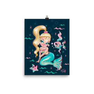 Blonde Babydoll Mermaid on Deep Blue • Art Print