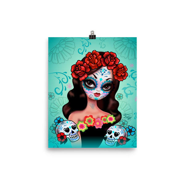 Day of the Dead Girl with Roses II • Art Print