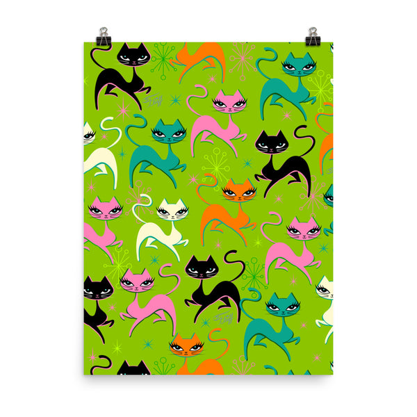 Prancing Kittens on Lime • Art Print