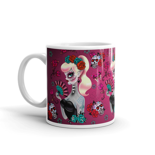 Blonde Sugar Skull Pinup Girl • Mug