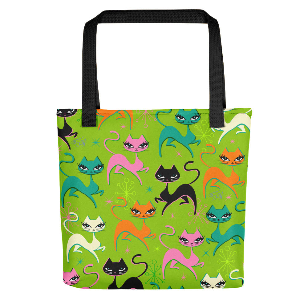 Prancing Kitten on Lime • Tote Bag