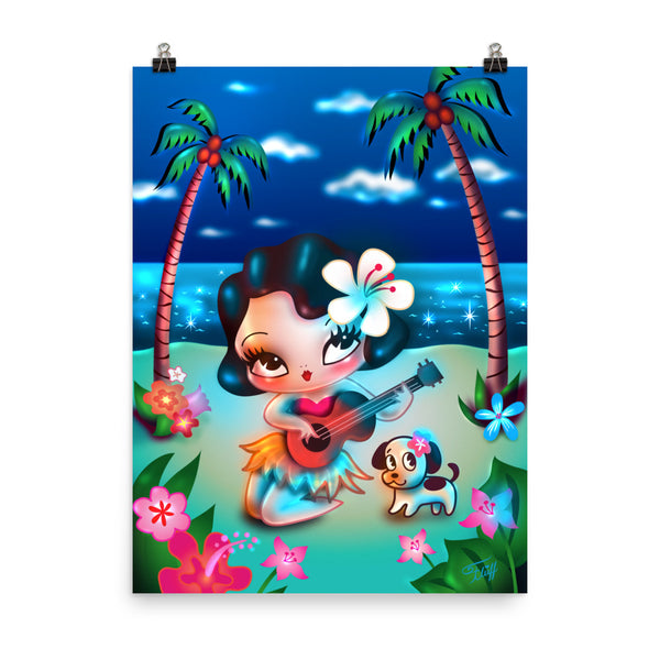 Hula Lulu Night Time • Art Print
