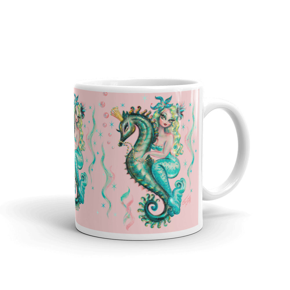 Blue Mermaid Riding a Seahorse Prince • Mug