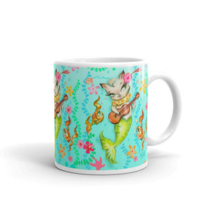 Mermaid Cat with Ukulele • Mug