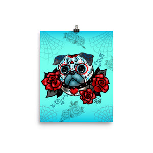 Sugar Skull Pug With Roses on Mint • Art Print
