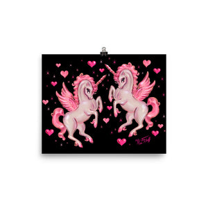 Unicorn Pegasus on Black • Art Print