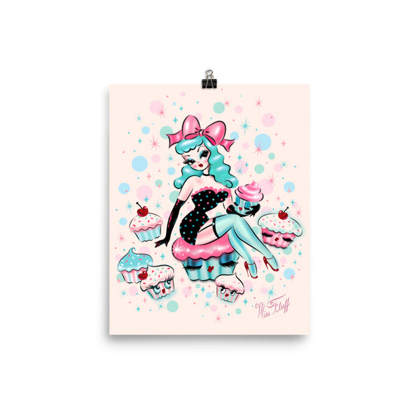 Cupcake Doll with Mint Hair • Art Print