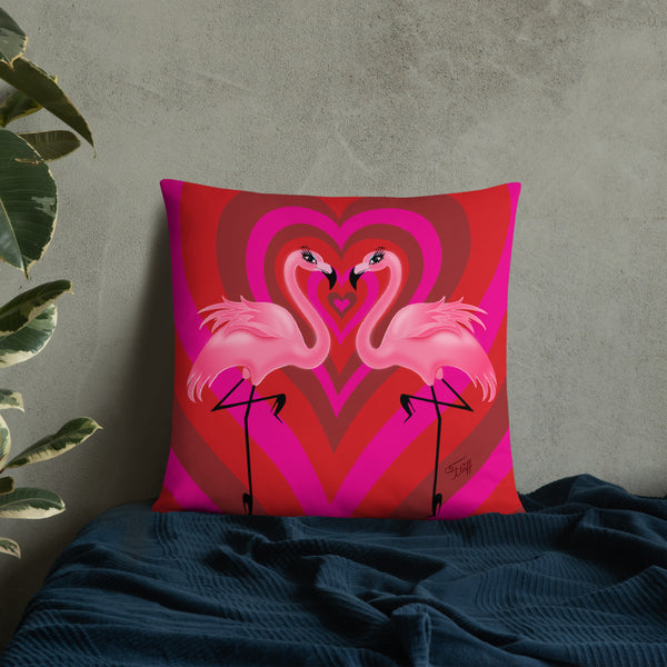 Flamingo Love • Throw Pillow