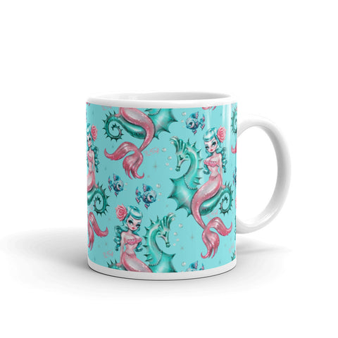 Mysterious Mermaid on Aqua • Mug