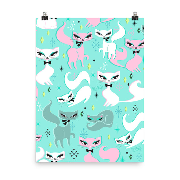 Swanky Kittens on Mint • Art Print