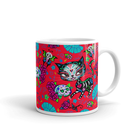 Sugar Skull Kitty on Red • Mug