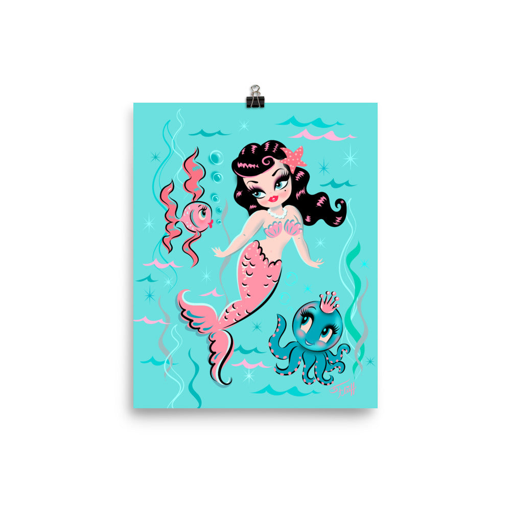 Babydoll Mermaid with Raven Hair and Octopus Prince • Art Print