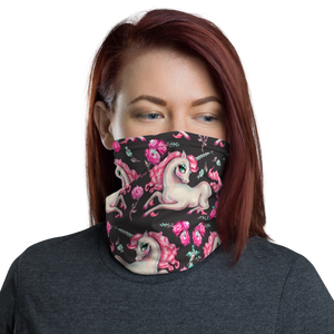 Unicorns and Roses on Black • Neck Gaiter Face Mask
