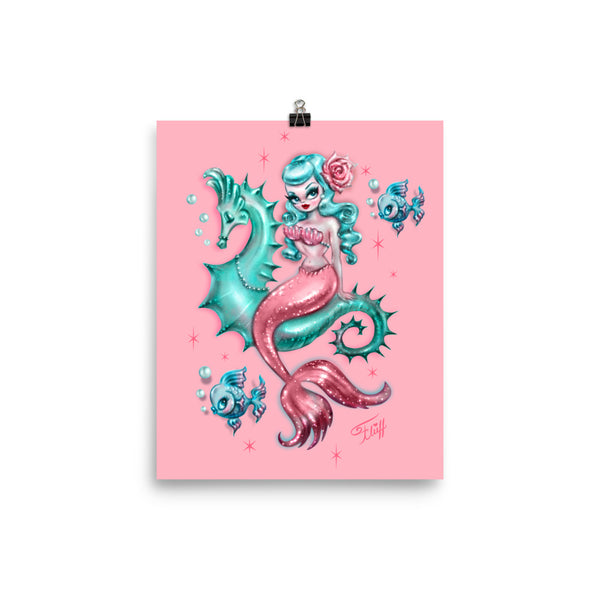 Mysterious Mermaid on Pink • Art Print