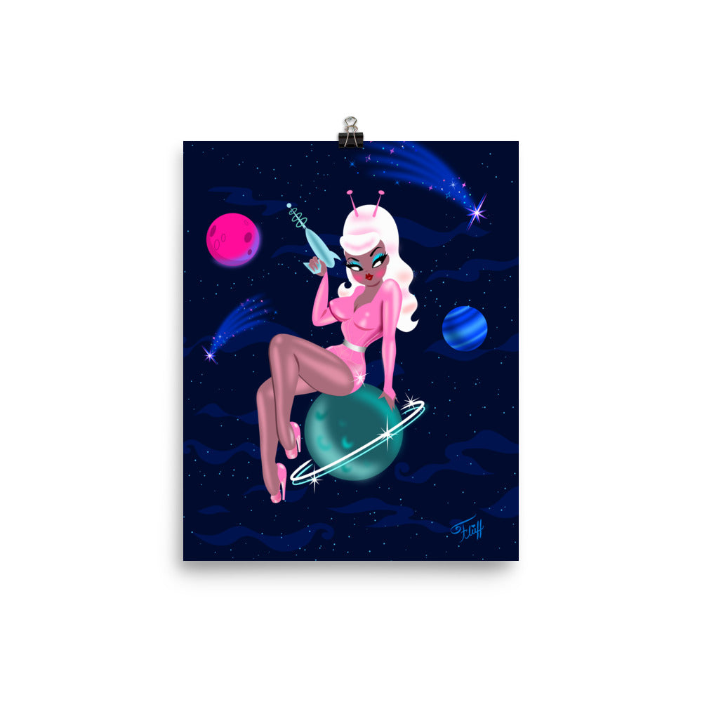 Space Girl on Saturn • Art Print