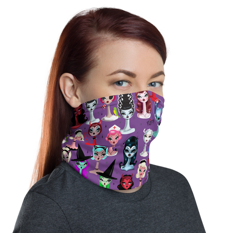 Spooky Dolls Purple • Neck Gaiter Face Mask