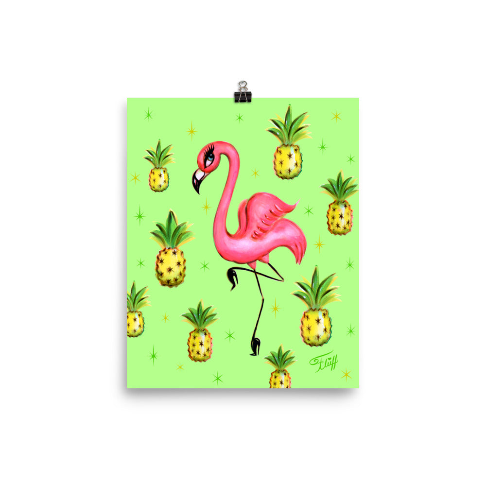 Flamingo with Pineapples • Art Print